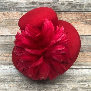 Downtown Abbey Vintage Red Feather Hat